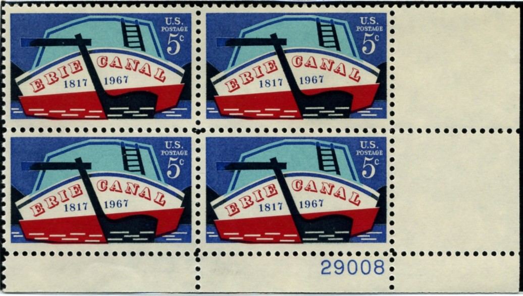 Scott 1325 5 Cent Stamp Erie Canal Plate Block