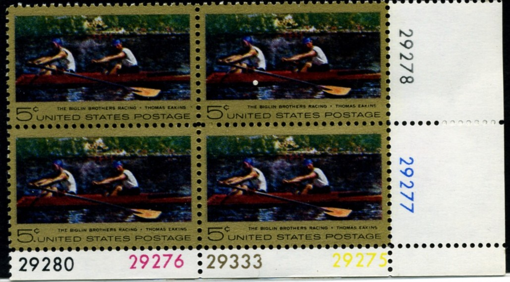 Scott 1335 5 Cent Stamp Thomas Eakins Plate Block