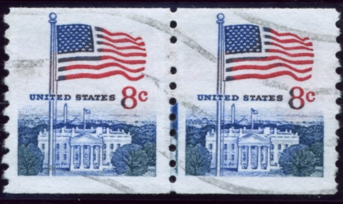 Scott 1338G 8 Cent Stamp Flag and White House Coil Stamp pair