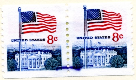 Scott 1338G 8 Cent Stamp Flag and White House Coil Stamp pair a