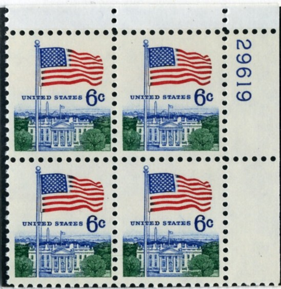 Scott 1338 6 Cent Stamp Flag and White House Definitive Plate Block