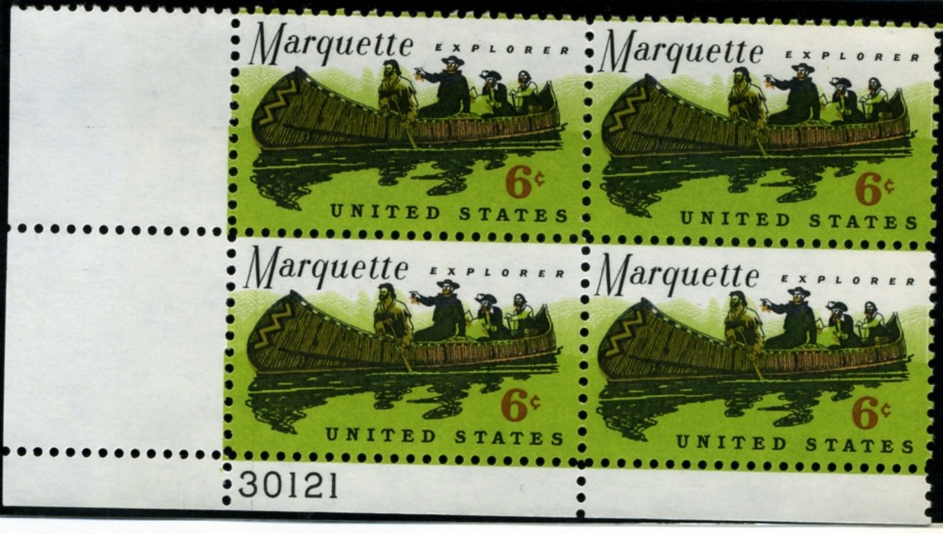 Scott 1356 6 Cent Stamp Father Marquette Plate Block