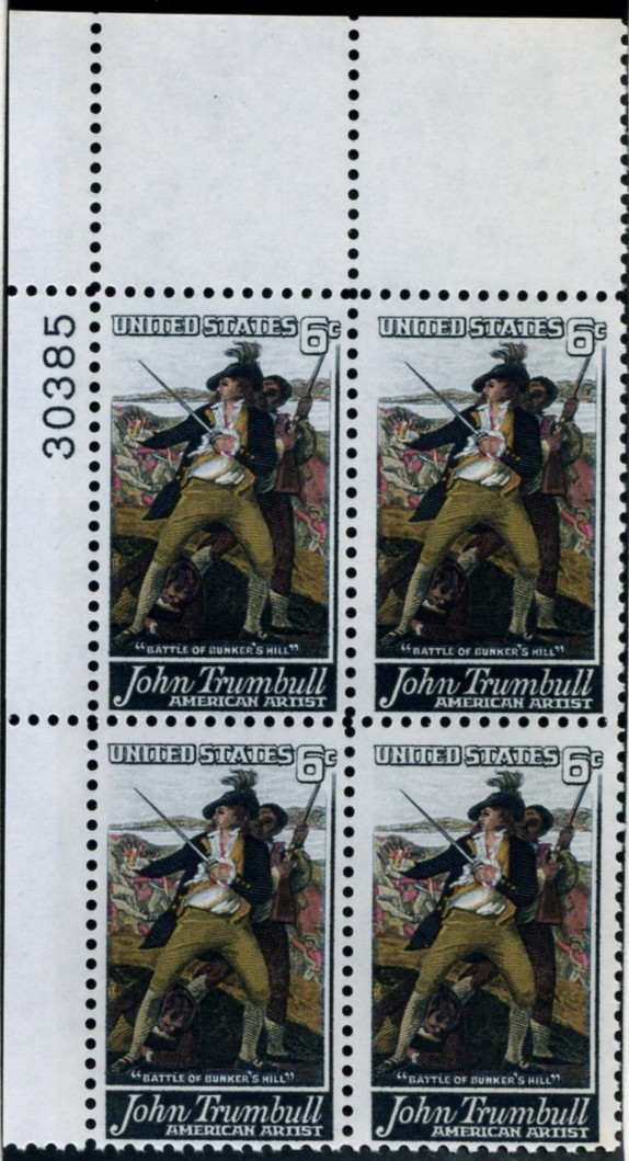 Scott 1361 6 Cent Stamp John Trumbull Plate Block