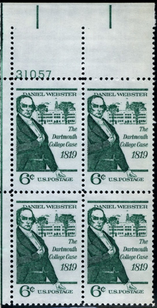 Scott 1380 6 Cent Stamp Daniel Webster Dartmouth College Case Plate Block