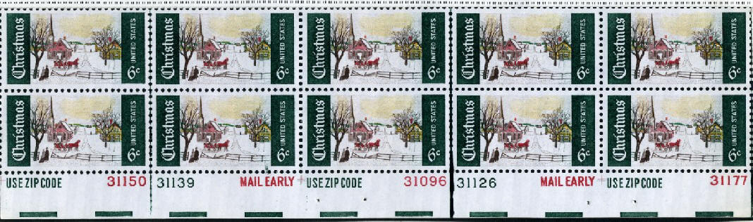Scott 1384 6 Cent Stamp Christmas Winter Scene Plate Block