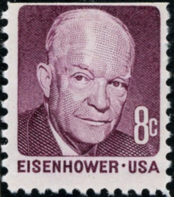 Scott 1395 8 Cent Stamp Dwight D Eisenhower claret