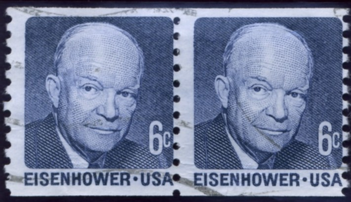 Scott 1401 6 Cent Stamp Dwight D. Eisenhower Coil Stamp Pair