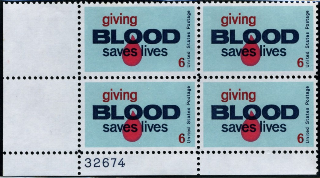 Scott 1425 6 Cent Stamp Giving Blood Saves Lives Plate Block
