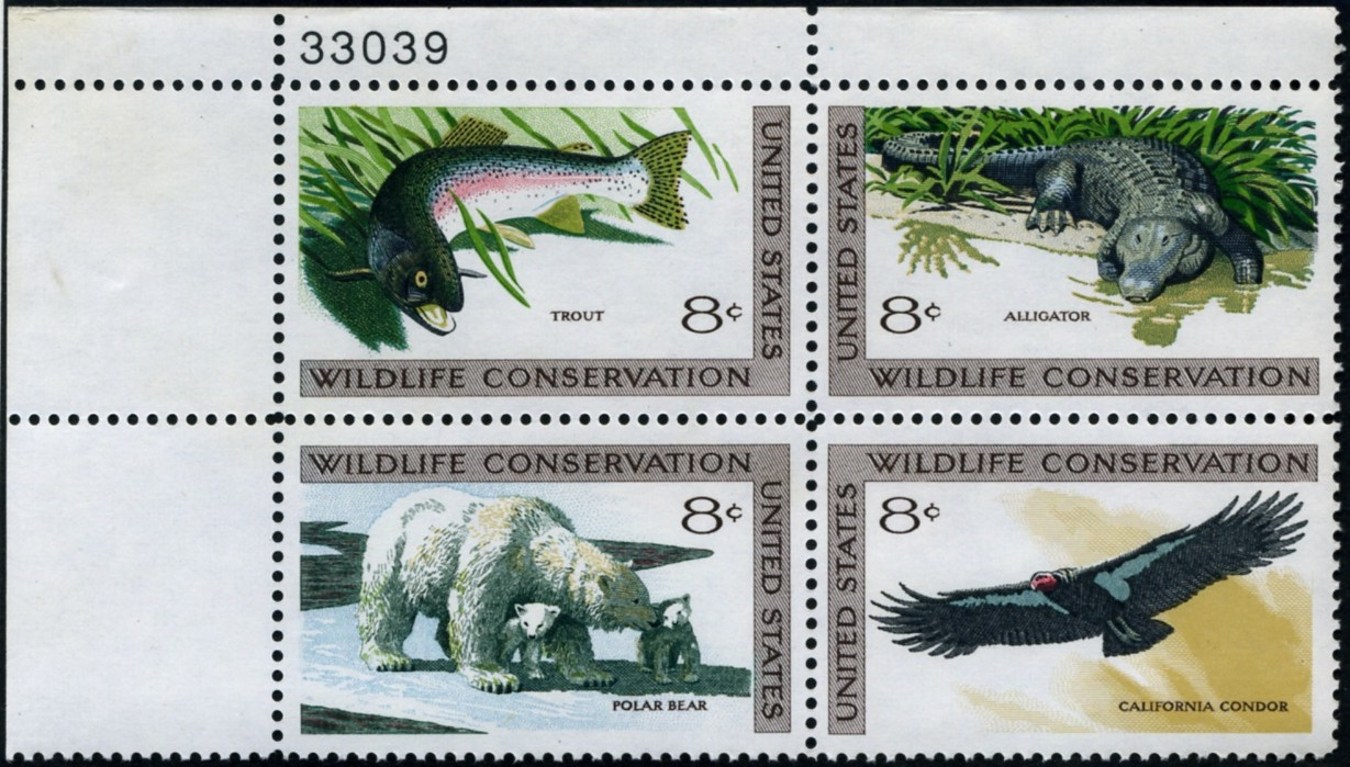 Scott 1427 to 1430 Four 8 Cent Wildlife Conservation Stamps Plate Block