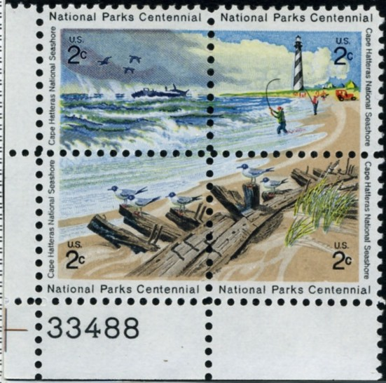 Scott 1448 to 1451 8 Cent Stamps Cape Hatteras Centennial Plate Block