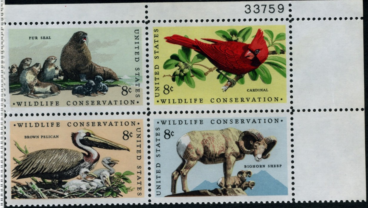 Scott 1464 to 1467 8 Cent Stamps Wildlife Conservation Plate Block
