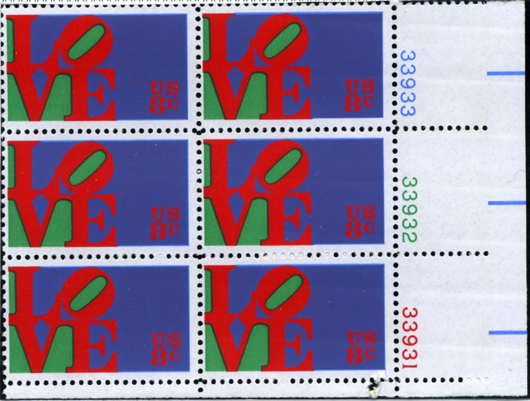 Scott 1475 8 Cent Stamp Love Plate Block