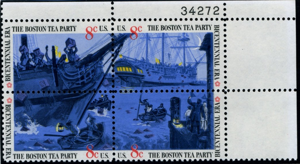 Scott 1480 to 1483 8 Cent Stamps Boston Tea Party Plate Block