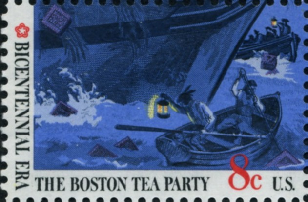 Scott 1482 8 Cent Stamp Boston Tea Party Boats and Lantern