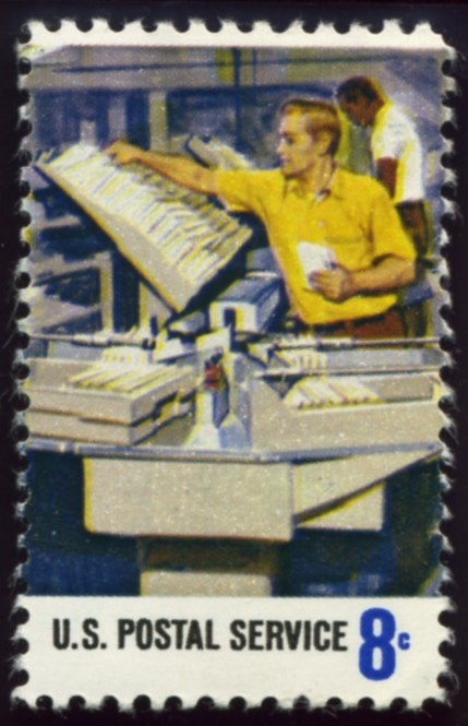 Scott 1493 8 Cent Stamp Postal Service Mail In Trays