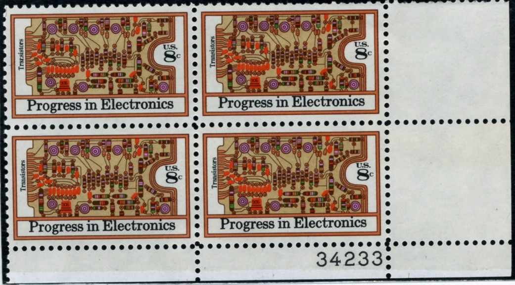 Scott 1501 8 Cent Stamp Transistors Plate Block
