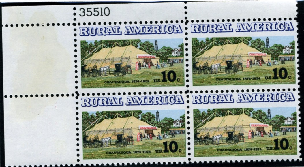 Scott 1505 10 Cent Stamp Chautauqua Plate Block