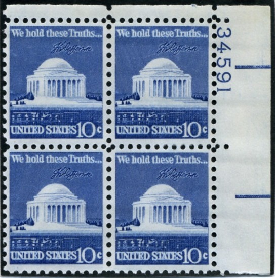 Scott 1510 10 Cent Stamp Jefferson Memorial Plate Block