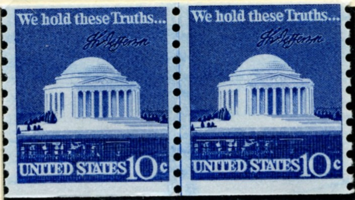 Scott 1520 10 Cent Stamp Jefferson Memorial Coil Stamp Pair