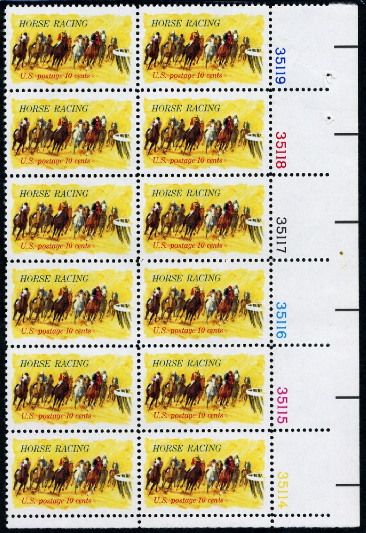 Scott 1528 10 Cent Stamp Horse Racing Plate Block