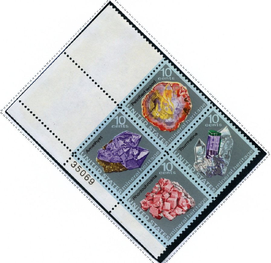 Scott 1538 to 1541 10 Cent Stamp Minerals Plate Block
