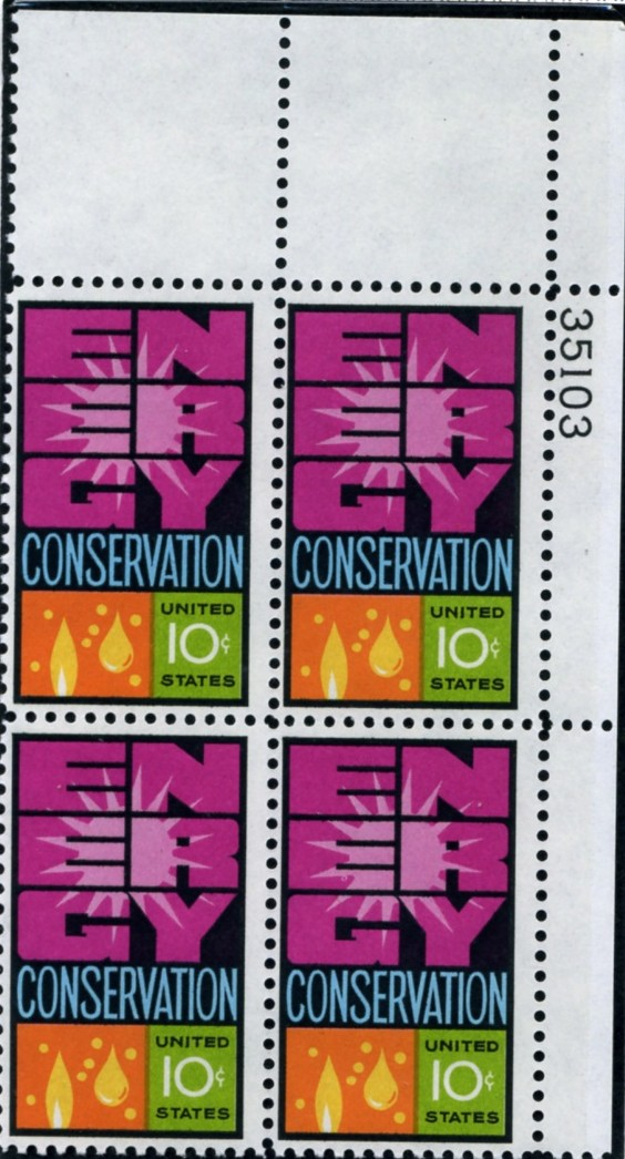 Scott 1547 10 Cent Stamp Energy Conservation Plate Block