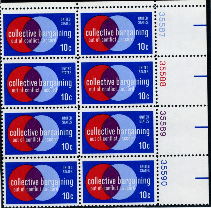 Scott 1558 10 Cent Stamp Collective Bargaining Plate Block