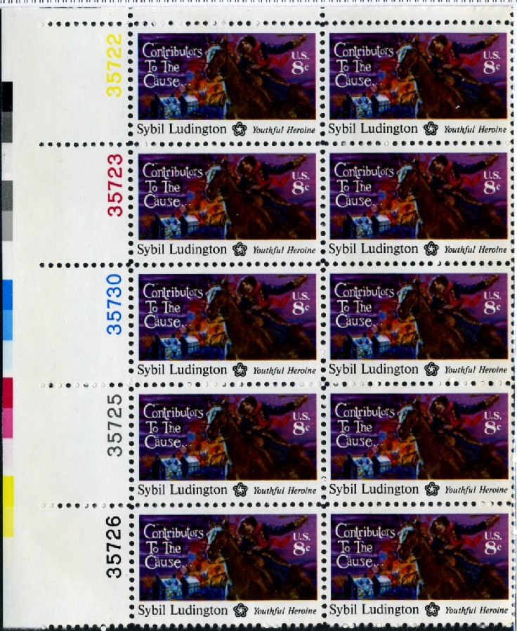 Scott 1559 8 Cent Stamp Sybil Ludington Plate Block
