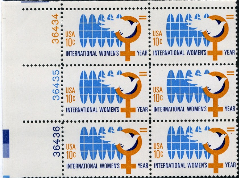 Scott 1571 10 Cent Stamp International Women's Year Plate Block