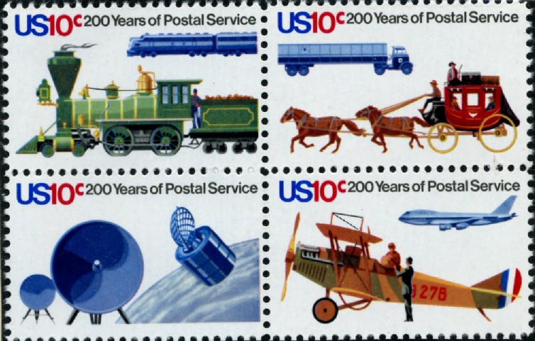 Scott 1572 - 1575 10 Cent Stamps 200 Years of Postal Service Block