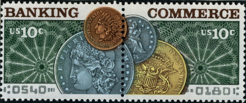 Scott 1577 - 1578 10 Cent Stamps Banking and Commerce