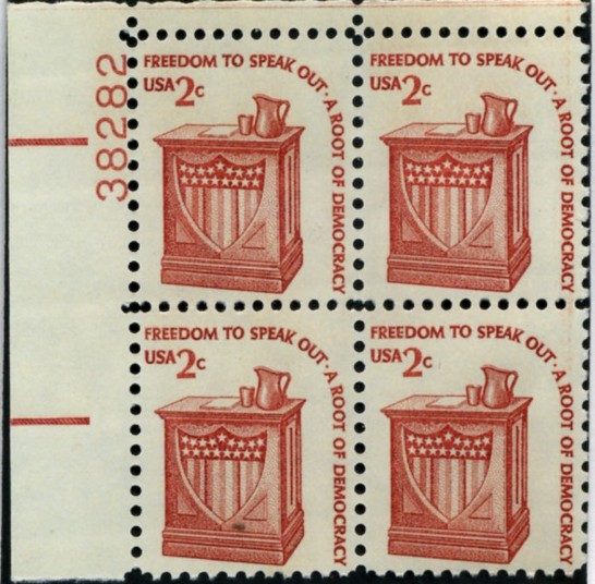 Scott 1582 2 Cent Stamp Speakers Lectern Plate Block