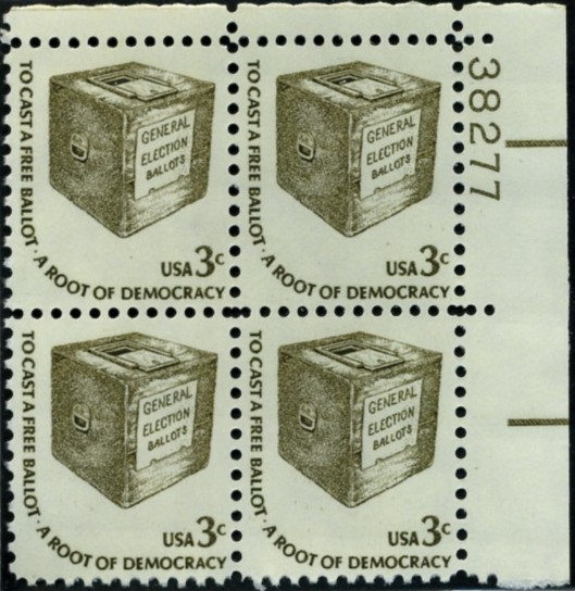 Scott 1584 3 Cent Stamp Ballot Box Plate Block