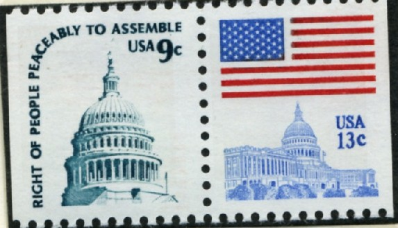 Scott 1590A and 1623A 9 and 13 Cent Stamp Capitol Pair