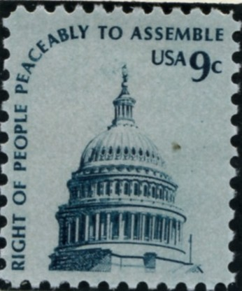 Scott 1591 9 Cent Stamp Capitol Dome Gray Paper