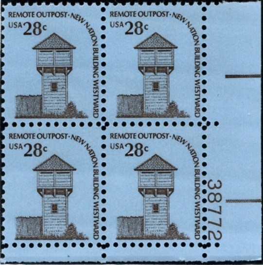 Scott 1604 28 Cent Stamp Fort Nisqually Plate Block