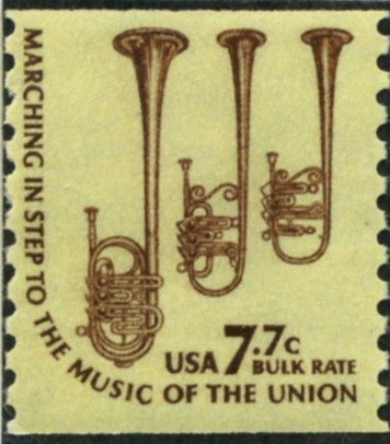 Scott 1614 7.7 Cent Bulk Rate Coil Stamp Saxhorns