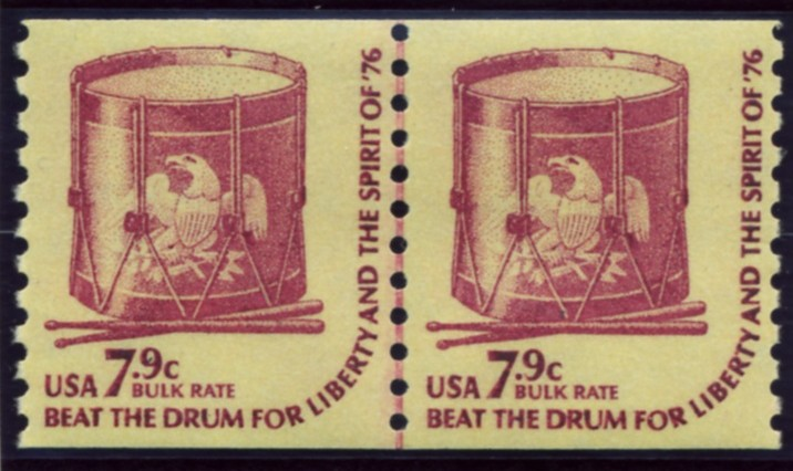 Scott 1615 7.9 Cent Bulk Rate Coil Stamp Drum Pair