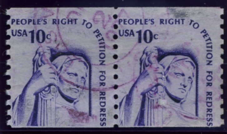 Scott 1617 10 Cent Coil Stamp Justice Pair