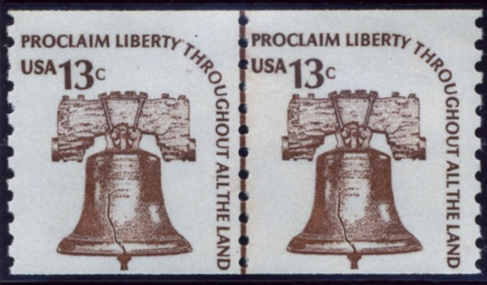 Scott 1618 13 Cent Coil Stamp Liberty Bell Pair