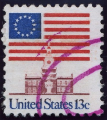 Scott 1622 13 Cent Stamp Flag and Independence Hall
