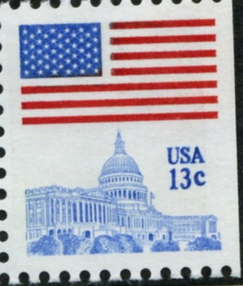 Scott 1623 13 Cent Stamp Flag and Capitol