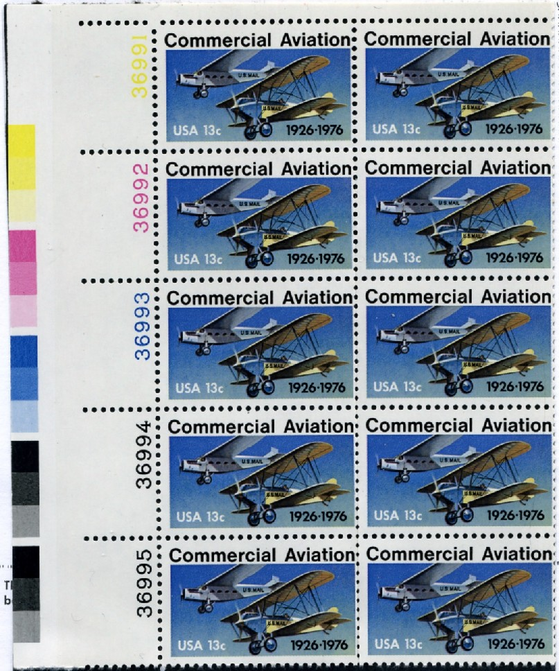 Scott 1684 13 Cent Stamp Commercial Aviation Plate Block