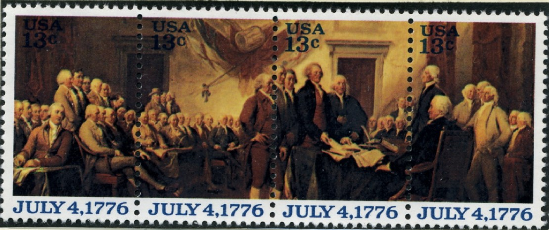 Scott 1691 to 1694 13 Cent Stamps Declaration of Independence Block