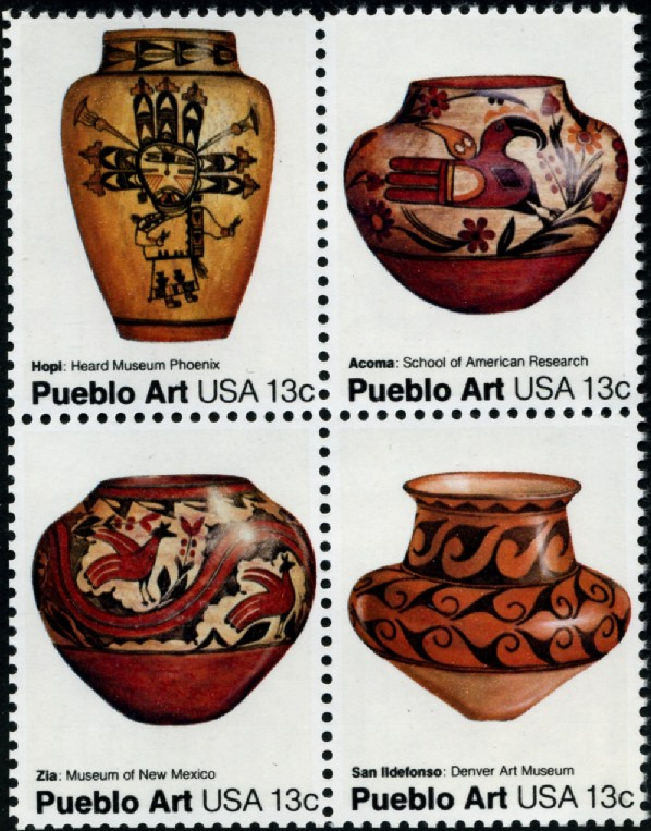 Scott 1706 to 1709 13 Cent Stamp Pueblo Art