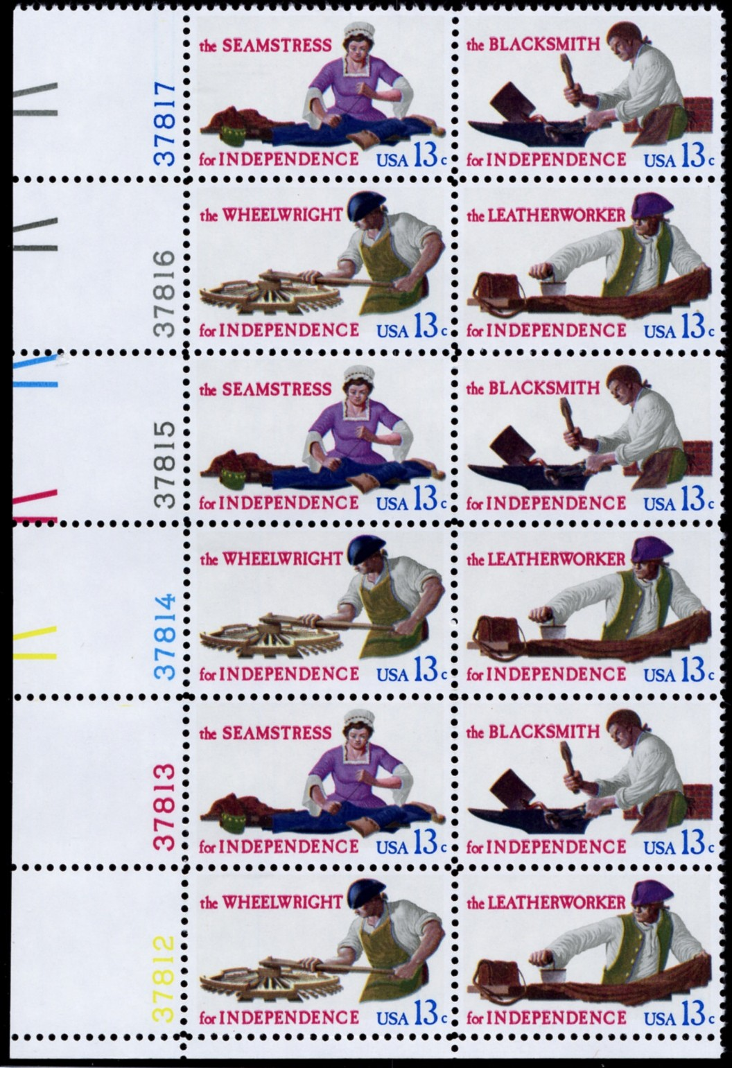 Scott 1717 to 1720 13 Cent Stamps Workers For Independence Plate Block