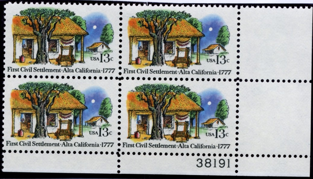 Scott 1725 13 Cent Stamp Alta California Plate Block