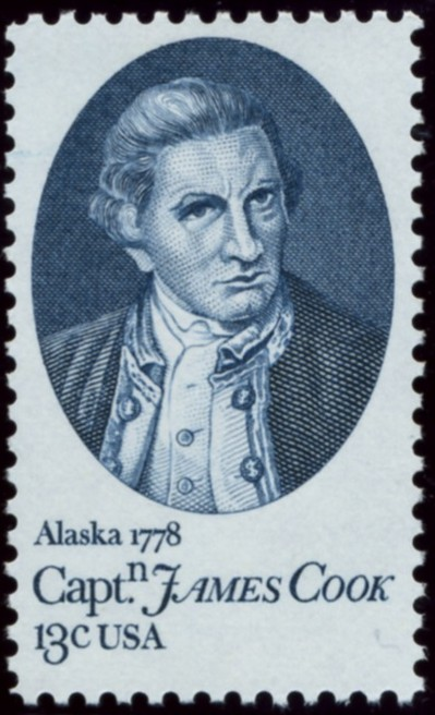 Scott 1732 13 Cent Stamp Captain James Cook in Alaska