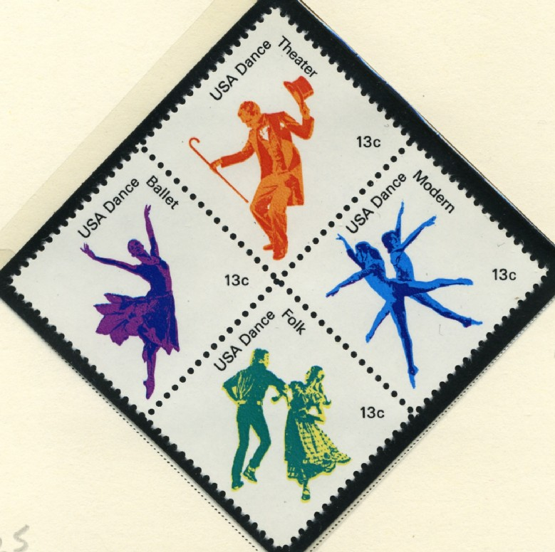 Scott 1749 to 1752 13 Cent Stamps Dance
