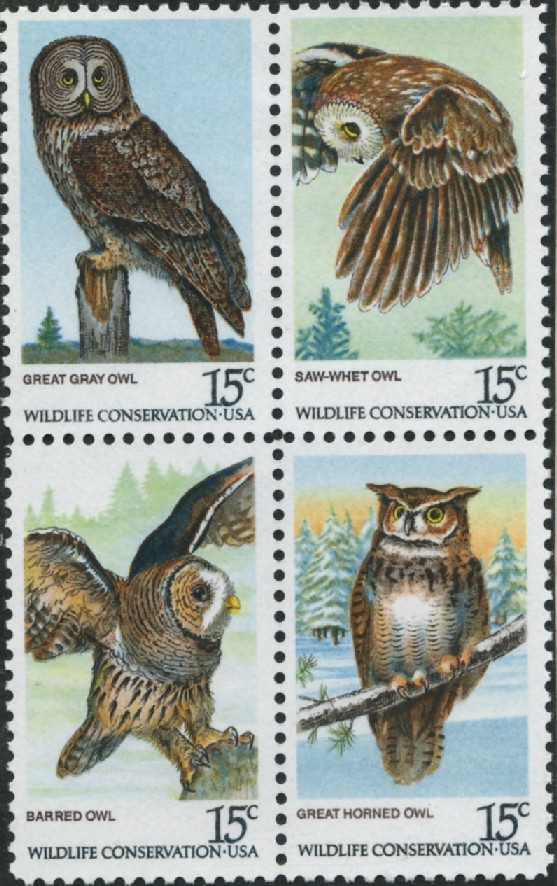 Scott 1760 to 1763 15 Cent Stamps Owl Conservation